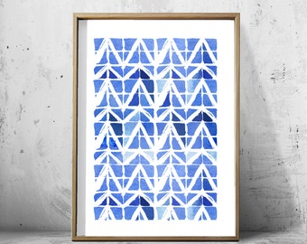 Geometric Watercolor Abstract Watercolor Blue Wall Art Minimal Minimalist art Abstract Painting Blue White Wall Decor Chevron Triangles Art