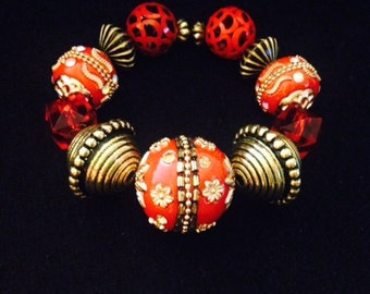 Royal Red and Gold Bracelet