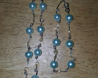Mint pearl necklace and bracelet