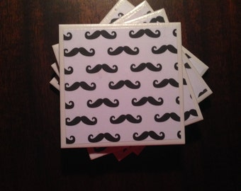 Mustache print tile coaster set