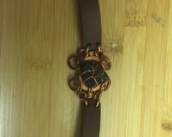 Moldavite  Bracelet-Wire Wrapped-Leather