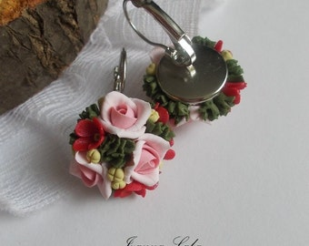 Rose earring, roses, bridal jewelry, bridesmaid rose, bridesmaid earring, flowers accessory, flowers earring, rose