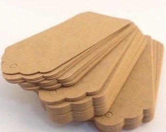 20 Large Brown Kraft Tags with Twine | Kraft Pre Punched Gift Tags