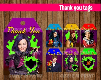 Descendants Thank You tags, Printable Descendants gift tags, Descendants party Thank You tags instant download