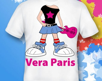 girl rockstar Cotton Tee Shirts Personalized - Birthday T-Shirt Party Favor
