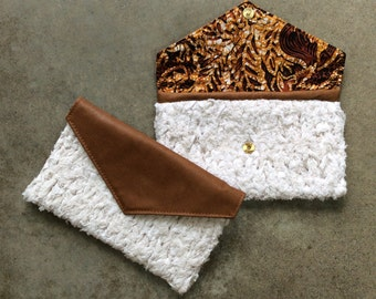 White Knit and Tan Clutch