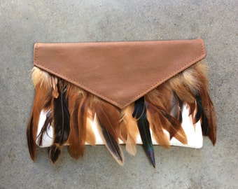 Brown Feather Clutch
