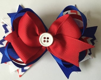 Red White and Blue Chevron Hair Bow