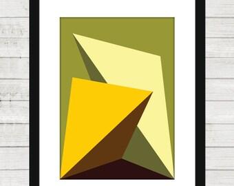 3d effect/poster/geometric/modern/printable/digital download/original/uniqe/ digital/Art #Brown-Yellow-Olive Green -Lemon