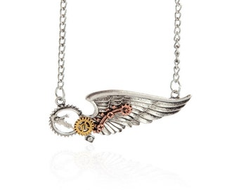steam  punk wings necklace