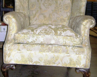 Edwardian Wingback Upholstered Chair with Down Cushioned Seats in Good Condition from 1910's