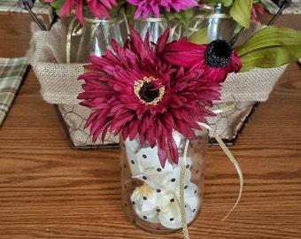 milk bottle & mason jar flowers