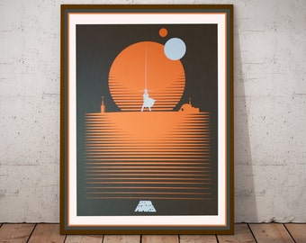 Star Wars Poster - Handmade Silkscreen Tribute 12 x 18 Minimalist Retro Art Print STAR WARS