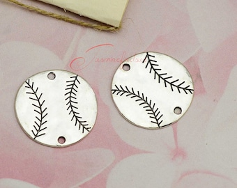 5PCS--32x32mm baseball charms,Antique Silver Tone baseball connector Charms pendant, DIY supplies,Jewelry Making