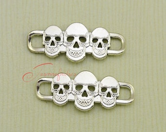 10PCS--39x16mm ,Three Skull connector Charms, Antique Silver Tone Skull connector Charm , DIY Findings, Jewelry Making JAS2564