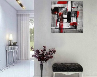 Original Abstract Art Painting Contemporary Chalky White Red Acrylic Modern Abstract Fine Art by Kathleen Artist Pro