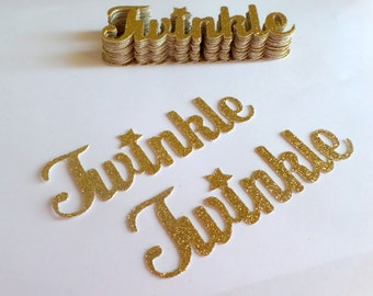 "4"" Inch Twinkle Twinke Little Star Gold Glitter Word Confetti LARGE (20 pieces) Die Cut - First Birthday, Shower Table Decorations"