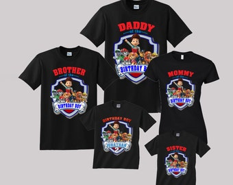 Paw patrol Birthday Shirt Custom personalized shirts for all family, Black p2