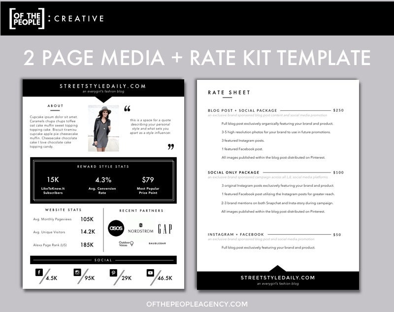 2 page media kit template press kit for bloggers for Digital press kit template free