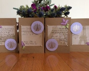 Parisian Purple Greeting Cards (Set of 4)/ Eiffel Tower Purple Greeting Cards (Set of 4)