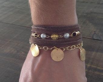 Bracelet boho Sweden, multi-stranded, turquoise, Brown, grey.