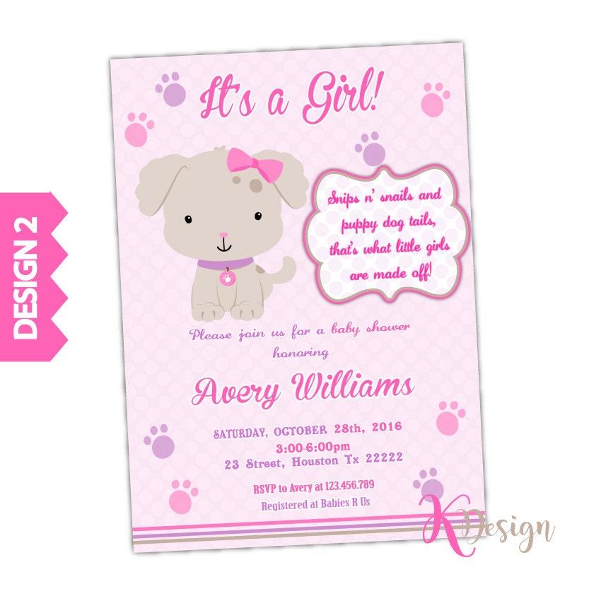 Puppy Baby Shower Invitation, Girl Baby Shower Invitation, Printable ...