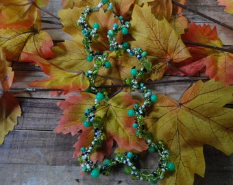 """Indian summer"" necklace beads, green"