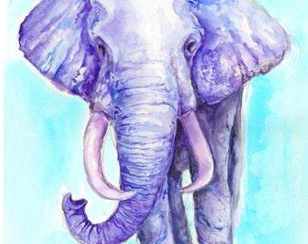 Purple Elephant fine art print. Home decor.