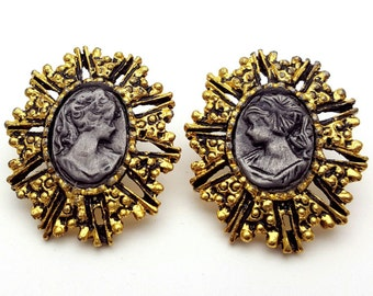 Gold and Grey Cameo 80s Lady's Silhouette with Oval Earrings Vintage Woman