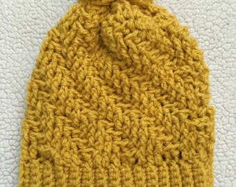 Crochet Mustard Spiral Cable Beanie