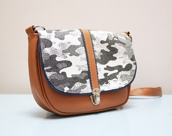 """Small crossbody bag """"easy mini"""", leatherette with cotton, new, purse, shoulder bag"""
