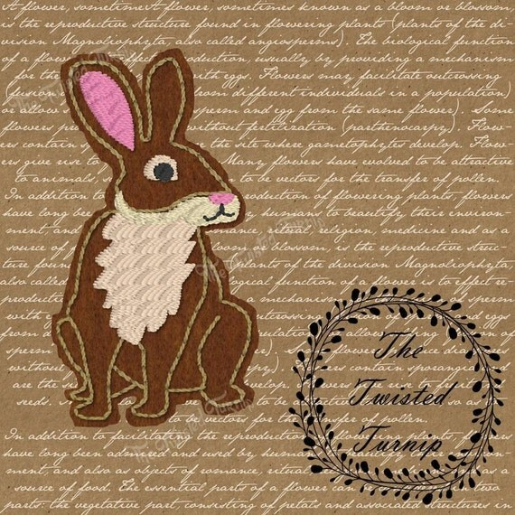 Cute Realistic Rabbit Woodland Creatures Feltie Felt Embroidery Design Designs Instant Download 4x4 Hoop