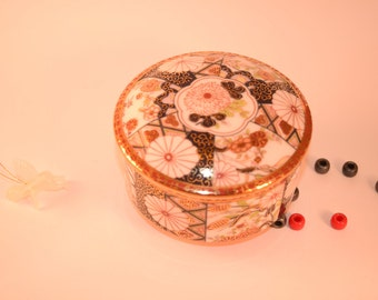 Free shipping - Trinket Jewelry Box with Gold Accents - Japanese Trinket box