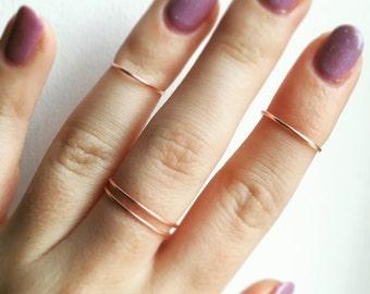 Rose Gold Midi Ring Set - Set of three - Stacking rings - Midi rings - Rose gold ring - Rose gold bands