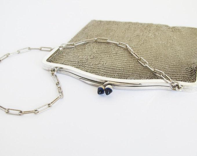 Vintage flapper purse, art deco ladies mesh handbag, Silver plated chainmail evening handbag, ringed mail bag, vintage art metalwork