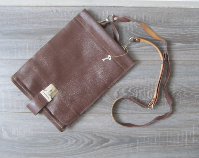 Leather messenger bag, Vintage crossbody, briefcase attache laptop bag manbag