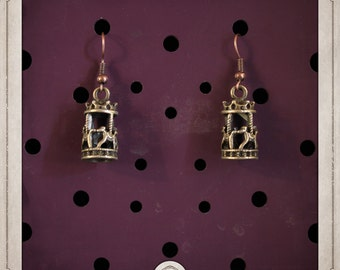 RIDES bronze earrings small carroussels retro steampunk BOB016