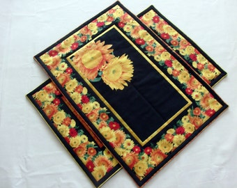 Spring Placemats Quilted Placemats Summer Placemats Table Linens Flower Placemats Flower Decor Spring Decor Placemat Set Handmade Placemats