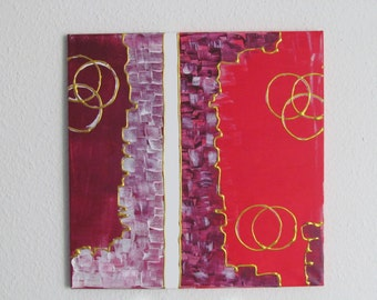 Abstract acrylic painting 50 x 50 cm red gold