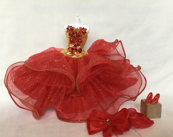 Barbie Doll Happy Christmas Holiday Classic Red Outfit Set  (Vintage, Newly Deboxed)