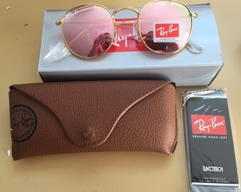 Vintage Ray Ban round sunglasses 50mm pink lens gold frame