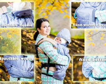 FREE SHIPPING/ Winter/ Autumn/ Tula/ Manduca/ Boba/ Pognae/ Ergo Baby Sling Wrap Baby Carrier Cover/ Hooded winter cover/ Grey Weather Cover