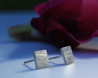 Sterling Silver Stud Earrings, Silver Square Studs, Small Silver Studs, Brushed Silver Earrings, Simple Earrings, Eco Silver