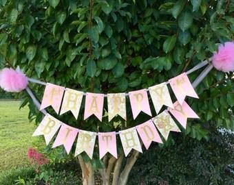 Pink and Gold Birthday Banner, Happy Birthday Banner, Pink Pom Pom, 1st Birthday Banner, Girl's Birthday Party, 1st Birthday Party, Banner