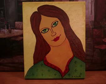 "Portrait of a Young Woman//Acrylic & Mixed Media//""Green Eyes""//Original One-Of-A-Kind Painting by Artist"