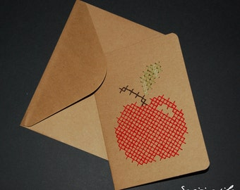 Embroidered card - cross stitch - Apple