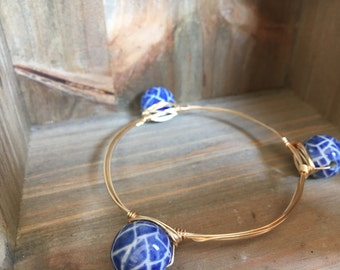 Etched Blue Bangle