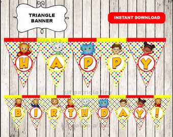 Daniel tigers banner instant download , Daniel tiger triangle banner, Printable Daniel tiger banner