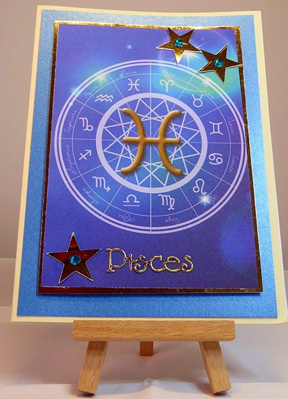 Pisces Horoscope/Zodiac/Star Sign Handmade Birthday Card - Feb 19 to Mar 20 - luxury personalised unique quality special astrological UK