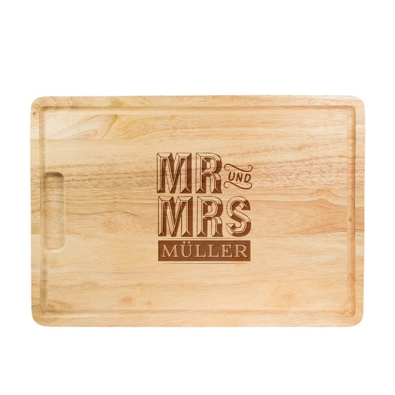 Chopping Board with Engraving – Wedding Gift – Mr & Mrs – Cutting Board for Couples